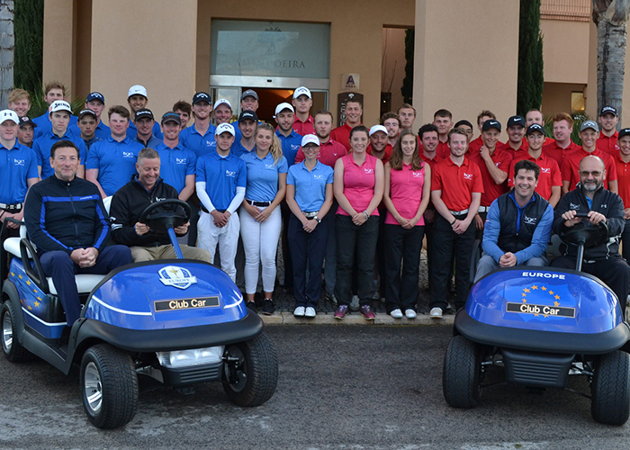 golf college students with golf buggies